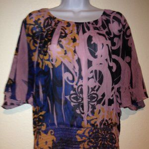 One World Sheer Slouchy Colorful Tunic Top